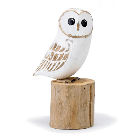 Archipelago Baby Barn Owl Hand Carved Wooden Birds