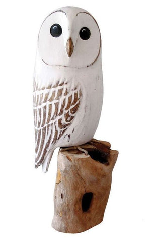 Archipelago Barn Owl Hand Carved Wooden Bird