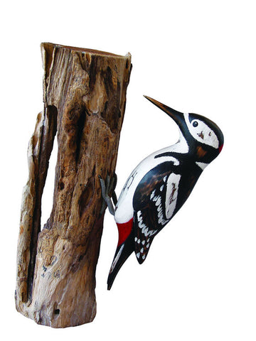 Archipelago Great Spotted Woodpecker Hand Carved Wooden Bird