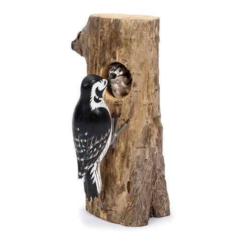 Archipelago Lesser Spotted Woodpecker Hand Carved Wooden Bird