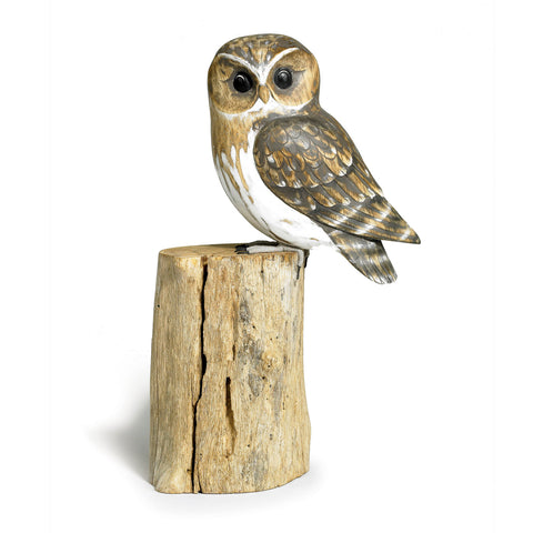 Archipelago Little Owl Hand Carved Wooden Birds