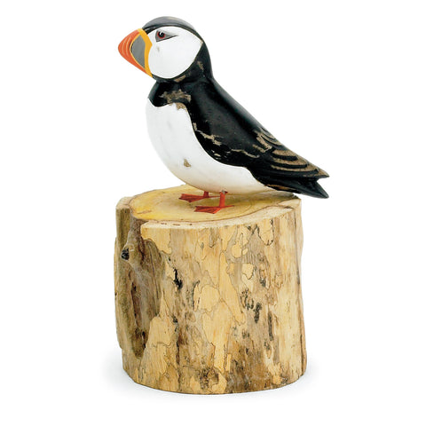 Archipelago Small Puffin Straight Hand Carved Wooden Bird