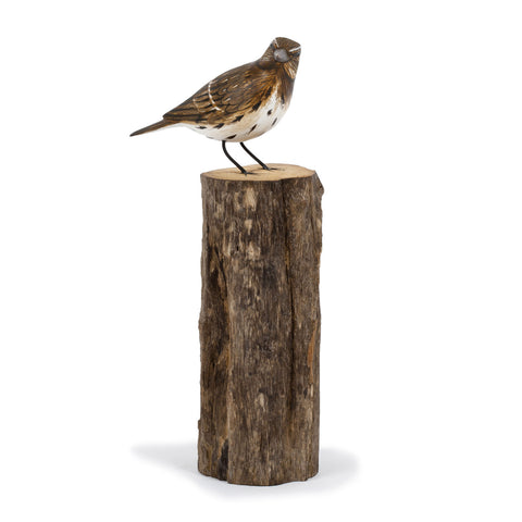 Archipelago Song Thrush Hand Carved Wooden Bird