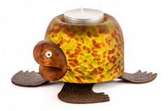 BOROWSKI GLASS - Turtle Tlight Holder Olive