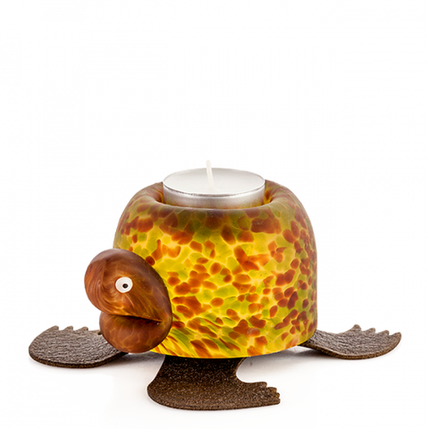 Borowski Turtle Tlight Holder Amber