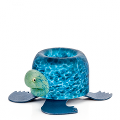 BOROWSKI GLASS - Turtle Tlight Holder Blue