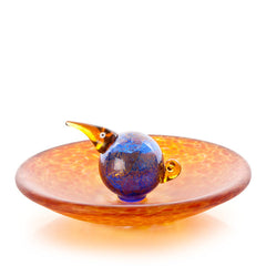 BOROWSKI GLASS - Bird Bath Bowl Amber Blue