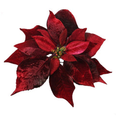 TRADITIONAL RED & GOLD - Burgandy Poinsettia On Clip