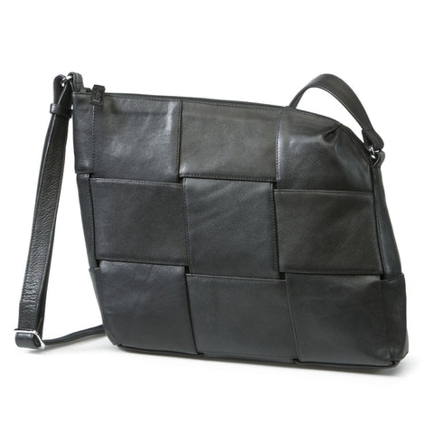 Bylin,Carre Crossover Black Leather Handbag