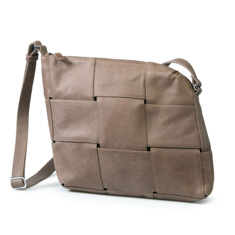 Bylin,Carre Crossover Taupe Leather Handbag