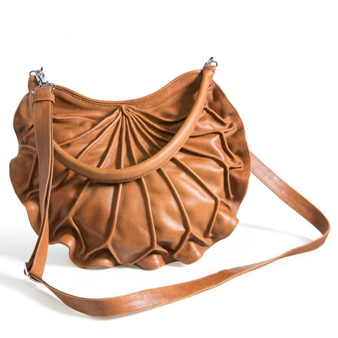 Bylin,Lotus Leaf Camel Leather Handbag