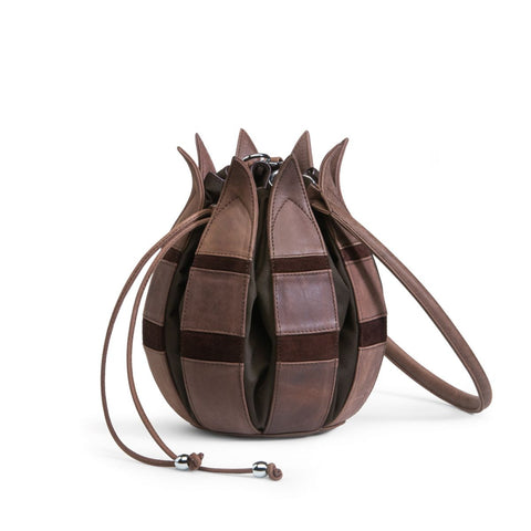 bylin-Tulip Vintage Patch Brown Leather Handbag Medium