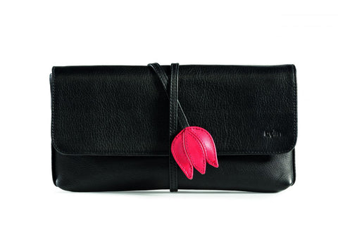 Bylin Envelope Tulip Black Red Leather Bag