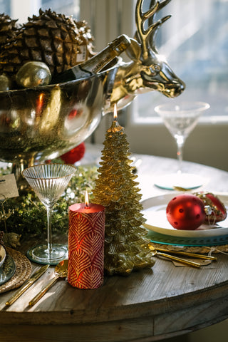 Gold Christmas Tree Candle - Photo