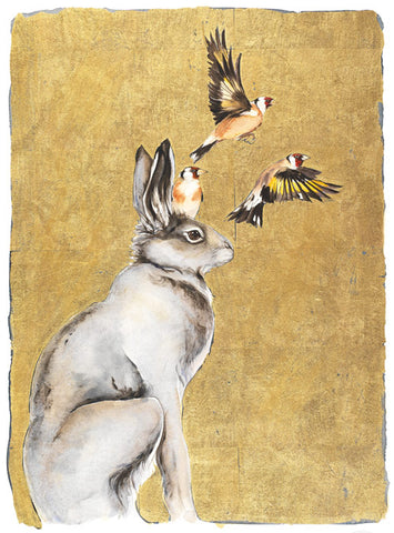 Jackie Morris illustration Hare & Goldfinches (2018) for Robert Macfarlane's The Lost Words
