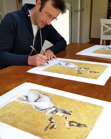 Jackie Morris illustration Hare & Goldfinches (2018) for Robert Macfarlane's The Lost Words - Robert signing