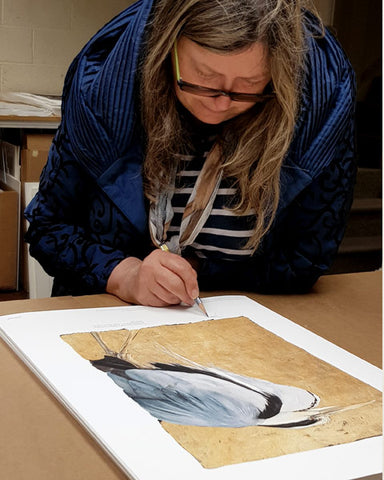 Jackie Morris illustration Heron (2018) for Robert Macfarlane's The Lost Words - Jackie signing