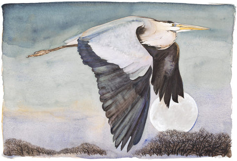 Jackie Morris illustration Heron In Flight (2018) for Robert Macfarlane's The Lost Words