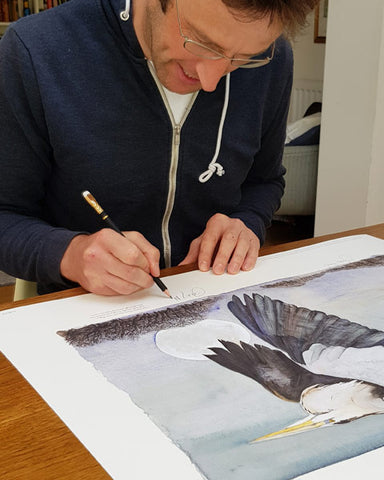 Jackie Morris illustration Heron In Flight (2018) for Robert Macfarlane's The Lost Words - Robert signing