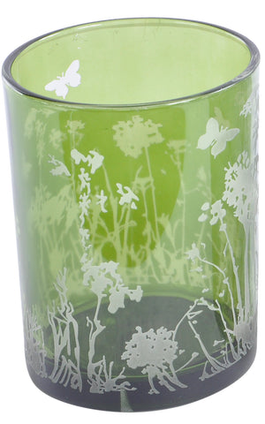 The Libra Company Glass Votive Large Green/White Butterfly