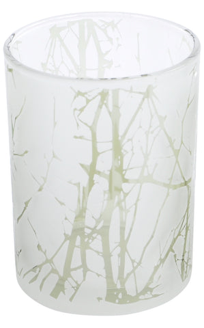 The Libra Company Glass Votive Large Green/White Branch