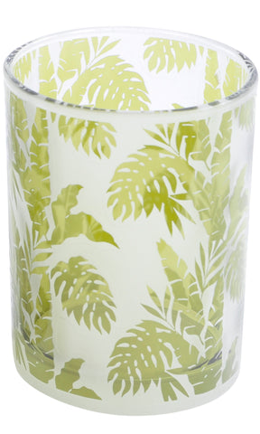 The Libra Company Glass Votive Large Green/White Leaf