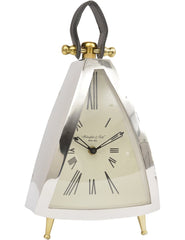 LIBRA - Isosceles Mantel Clock With Leather