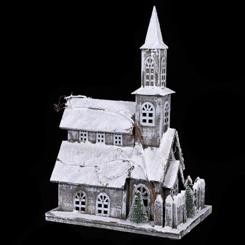Lit Snow Covered  Church - Side