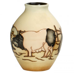MOORCROFT - Limousin Pigs Vase 3/5 Countryside Collection (2017)