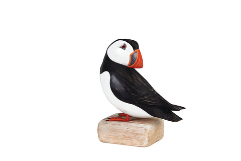Archipelago Puffin Preening Hand Carved Wooden Bird