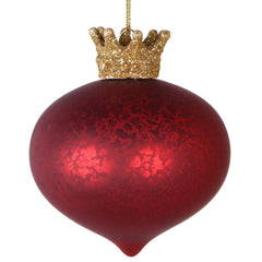 TRADITIONAL RED & GOLD - Red Bauble With Gold Crown