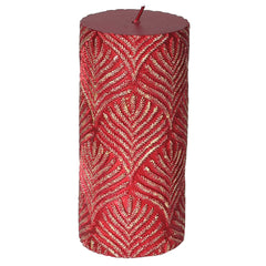 TRADITIONAL RED & GOLD - Red Embossed Pillar Candle