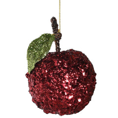 TRADITIONAL RED & GOLD - Red Glitter Apple Decoration