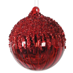TRADITIONAL RED & GOLD - Red Gls Bauble With Glitter