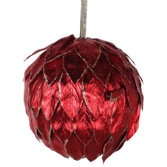 TRADITIONAL RED & GOLD - Red Leaf Effect Bauble