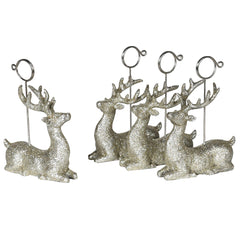 TRADITIONAL RED & GOLD - Glitter Deer Place Card Holders Set Of 4