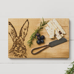 SCOTTISH MADE - Hare Oak Cheese Board & Knife Set
