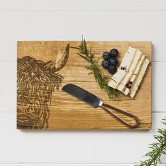 SCOTTISH MADE - Highland Cow Oak Cheese Board & Knife Set