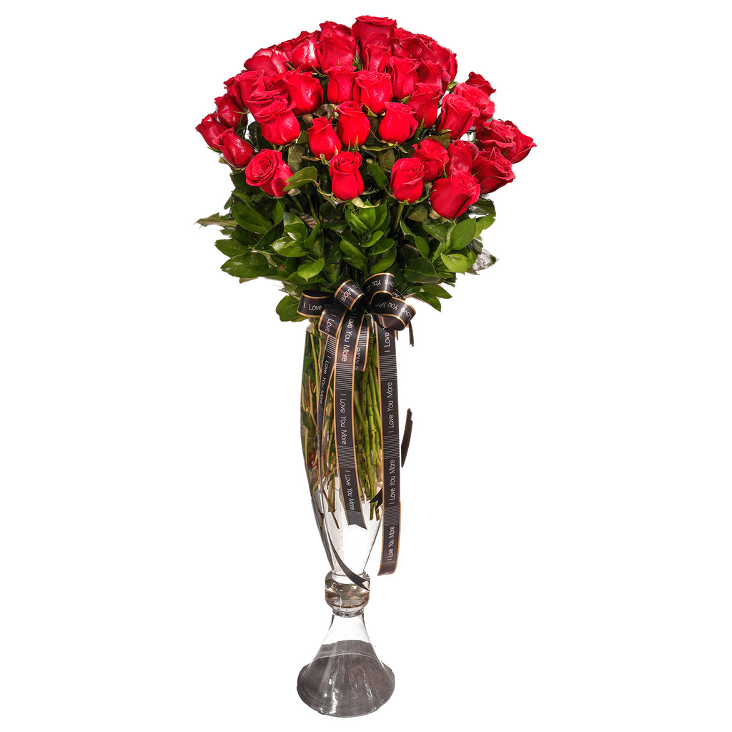 4 ft long stem rose vase 50-60 roses