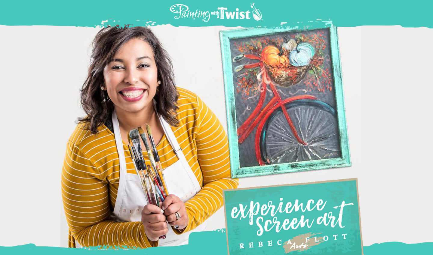 Screen art classes with Rebeca Flott at Painting with a Twist
