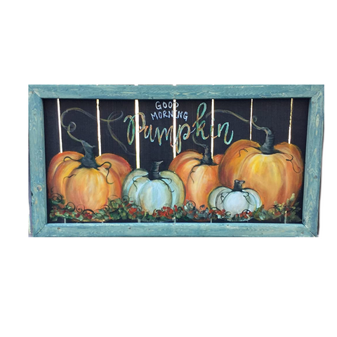 Good Morning pumpiking , fall hand painted art, wall art,