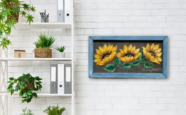 Trinity sunflowers on teal