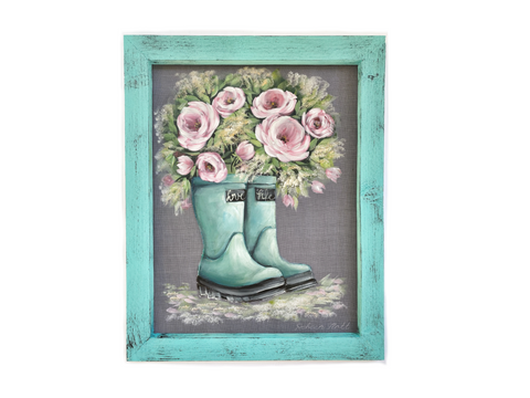 Bloom where you are planted,screen art, porch decor, original art