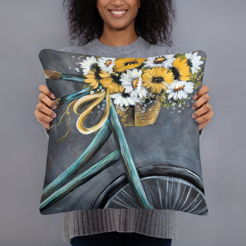 Vintage Bike pillow by Rebeca Flott Arts
