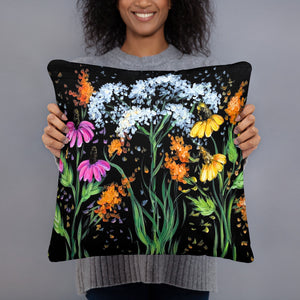 Wildflowers Pillow Rebeca Flott Arts