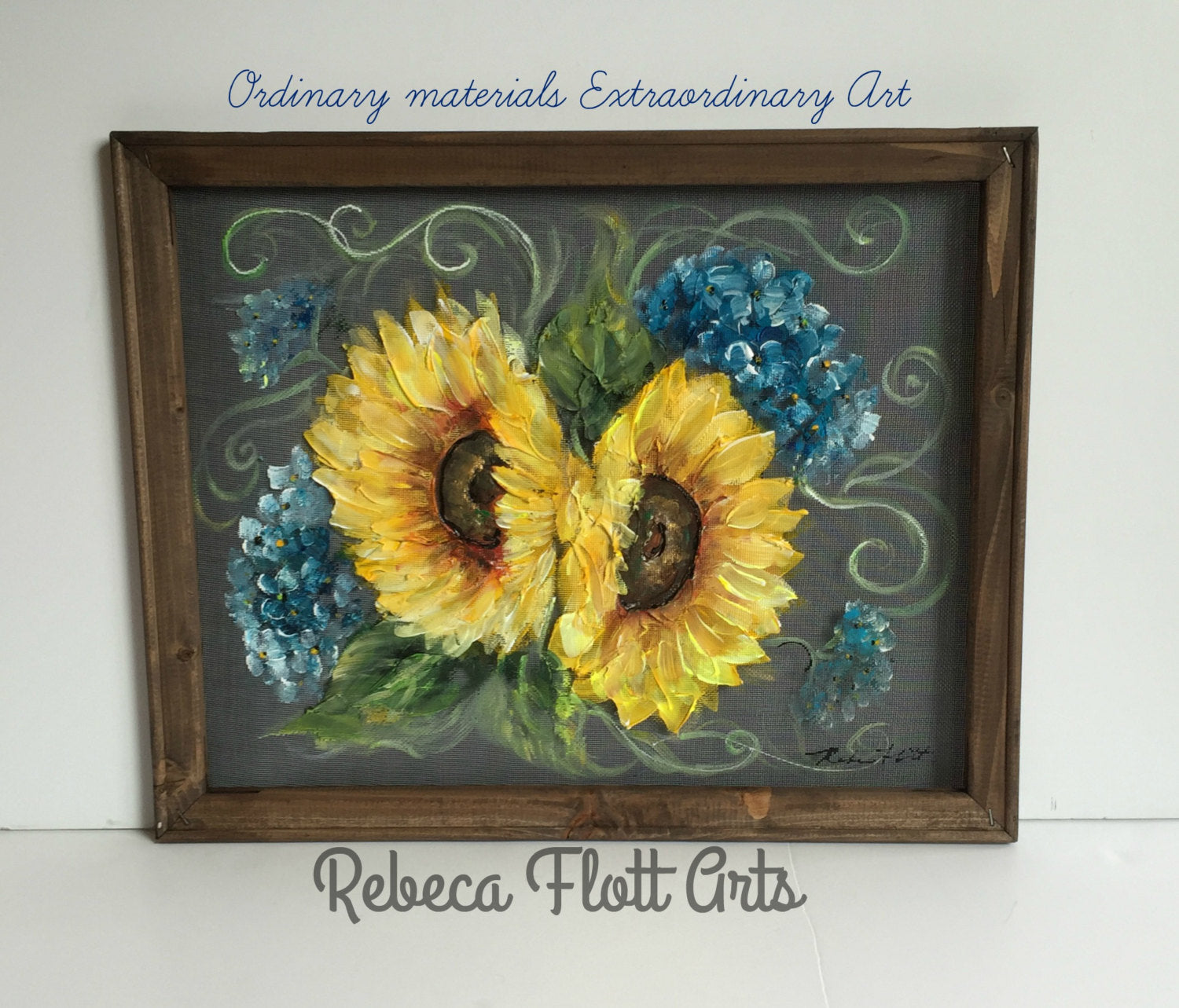 Sunflower and Blue Hydrangea,Hand painted Art on window Screen, original,Wall art, Indoor or outdoor Art