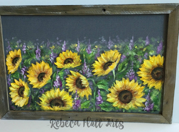 Sunflower Field,palled wood frame, recycled,upscycled,