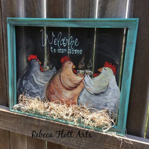 Chickens farrmhouse painting, picket fence  sign, rooster decor, kitchen decor, whimsical rooster decor, rooster sign, pallet knife painting