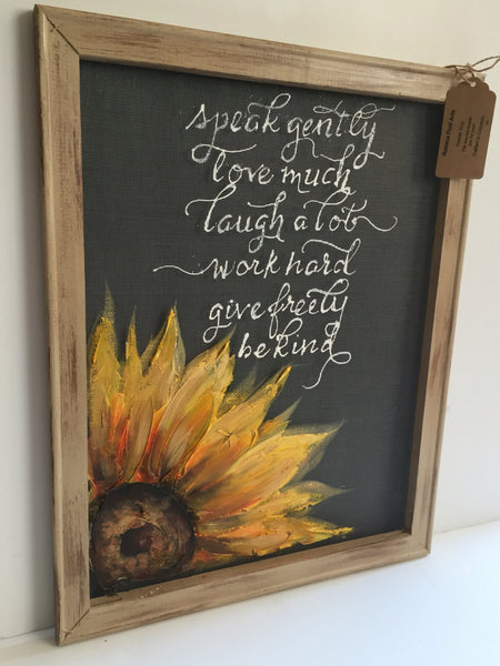 Inspirational quote and sunflower