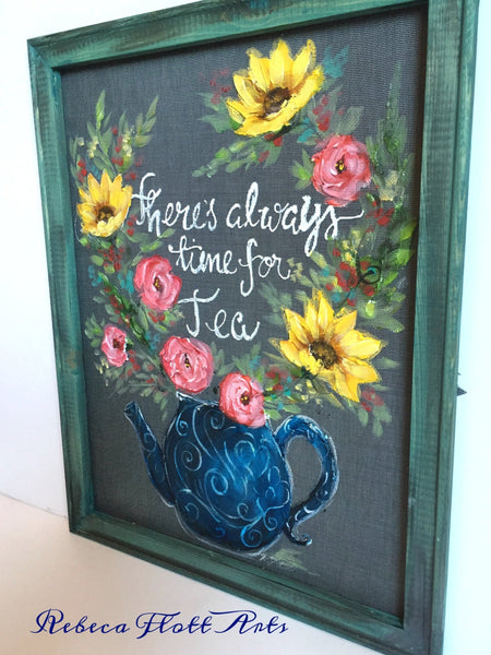 Flowers,There's always time for Tea,Window Screen Art,Porch decor,wall Art,Colorful flowers,housewarming gift